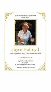 Joyce Holroyd Order of Service