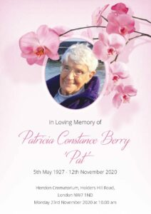 Pat Berry Order of Service