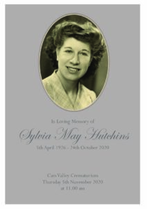 Sylvia May Hutchins Order of Service