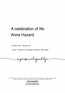 Anne Hazard Tribute Archive