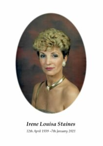 Irene Louisa Staines Order of Service