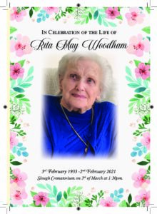 Rita May Woodham Order of Ceremony