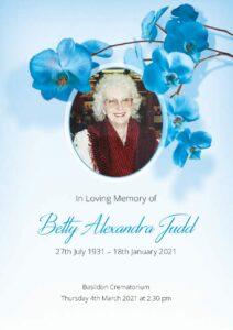 Betty Alexandra Judd Order of Service