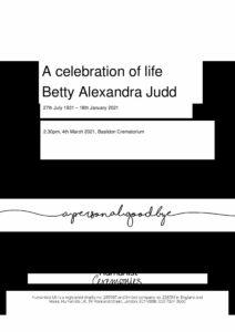 Betty Alexandra Judd Tribute Archive