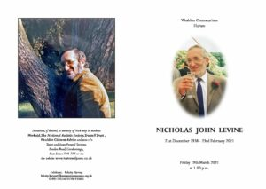 Nicholas John Levine Order of Ceremony
