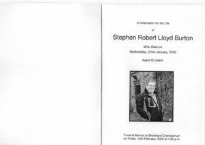Stephen Robert Lloyd Burton Order of Ceremony