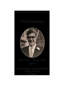 Thomas Frederick Hering Order of Service