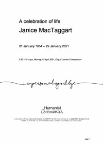 Janice MacTaggart Tribute Archive