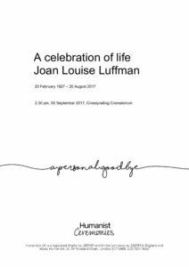 Joan Luffman Tribute Archive