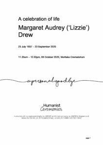 Margaret (Lizzie) Drew Tribute Archive