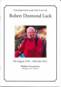 Robert Desmond Luck Order of Ceremony