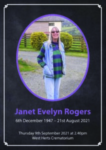 Janet Evelyn Rogers Order of Service