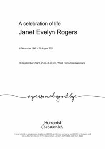 Janet Evelyn Rogers Tribute Archive